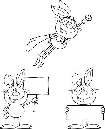 Rabbit Coloring Cartoons 2  Set Collection Vector