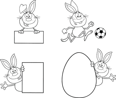 Rabbit Coloring Cartoons 1  Set Collection Vector