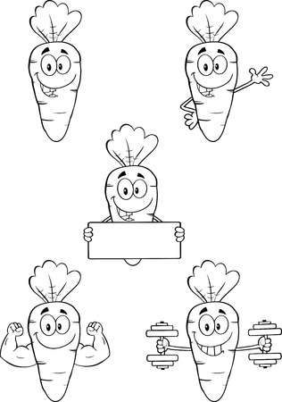 carotene: Black And White Carrot Cartoon Characters 1  Set Collection  Illustration