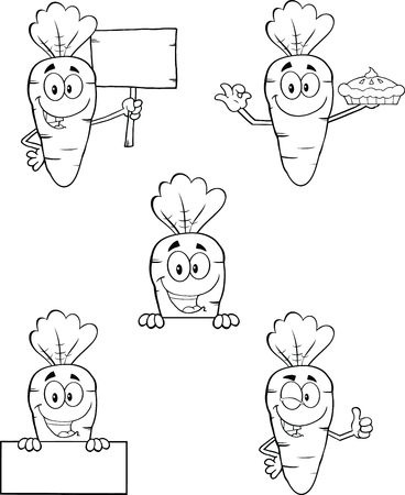 Black And White Carrot Cartoon Characters 2  Set Collection  Vector