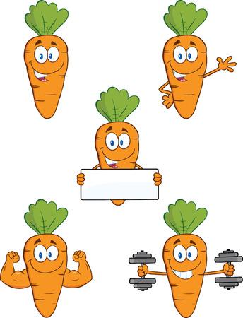 zanahoria caricatura: Personajes de dibujos animados de zanahoria 1 Set Collection Vectores
