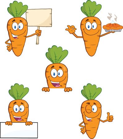 Carrot Cartoon Characters 2  Set Collection  Vector