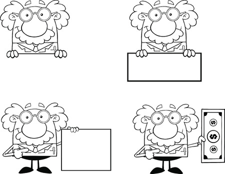 Black And White Funny Scientist Or Professor Different Poses 2  Collection Set Vector