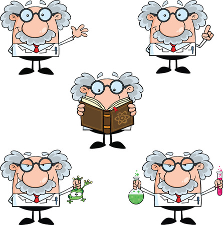 Funny Scientist Or Professor Different Poses 2  Collection Set Vector