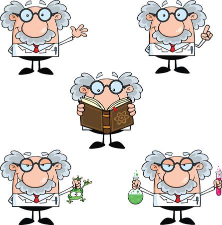 Lustige Wissenschaftler oder Professor Verschiedenen Haltungen Collection Set 2