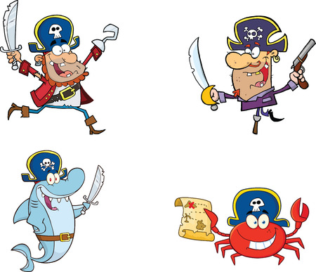 Pirates Cartoon Characters  Collection Set Vector