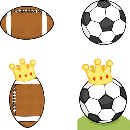 Different Balls With Crown  Collection Set Vector