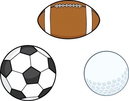 cartoon golf: Different Sport Balls  Collection Set Illustration
