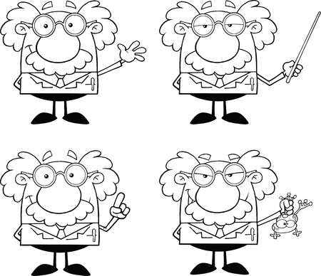 Black And White Funny Scientist Or Professor Different Poses 1  Collection Set Vector