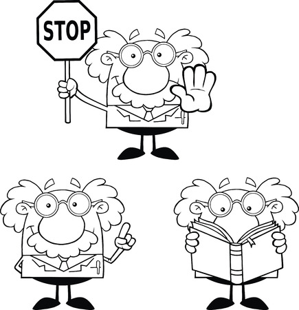 Black And White Funny Scientist Or Professor Different Poses 3  Collection Set Vector