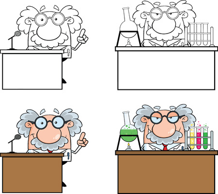 Funny Scientist Or Professor Different Poses 1  Collection Set Vettoriali