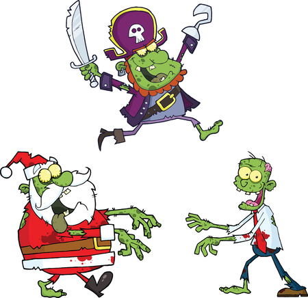 Zombie Cartoon Characters  Collection Set Vector