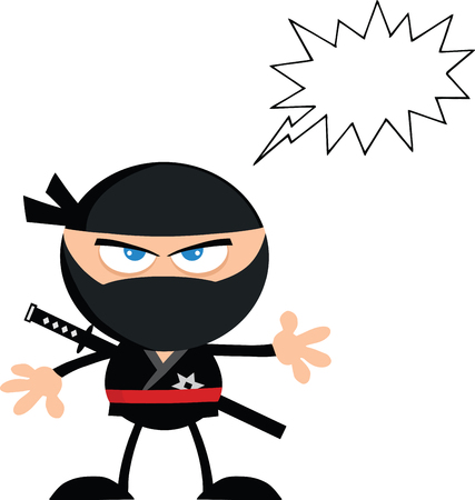 Angry Ninja Warrior Cartoon Character With Speech Bubble Flat Design  Illustration Isolated on white Vector