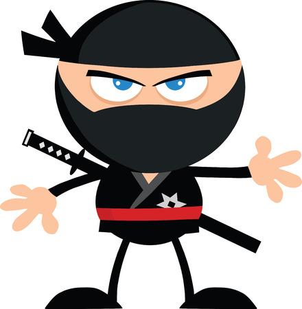 Angry Ninja Warrior Cartoon Character Flat Design  Illustration Isolated on white