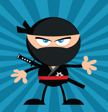 Angry Ninja Warrior Cartoon Character Flat Design Over Blue Background Vector
