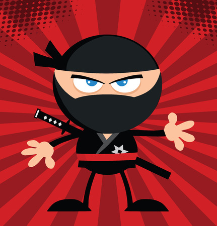 Angry Ninja Warrior Cartoon Character Flat Design Over Red Background