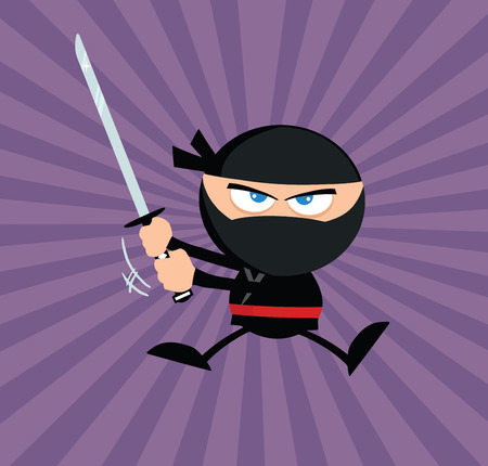 Angry Ninja Warrior Jumping With Katana Flat Design Over Purple Background Vector