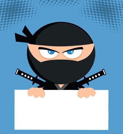 Angry Ninja Cartoon Character Over Blank Sign Flat Design Vector