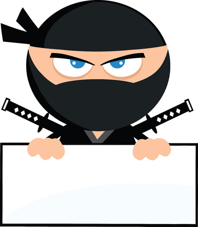 Angry Ninja Warrior Cartoon Character Over Blank Sign Flat Design  Illustration Isolated on white  イラスト・ベクター素材