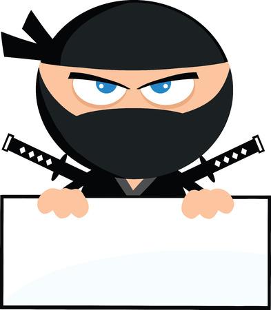 Angry Ninja Warrior Cartoon Character Over Blank Sign Flat Design  Illustration Isolated on white Illustration