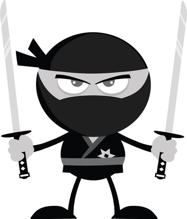 Angry Ninja Warrior With Two Katana Flat Design In Gray Color  Illustration Isolated on white Vector