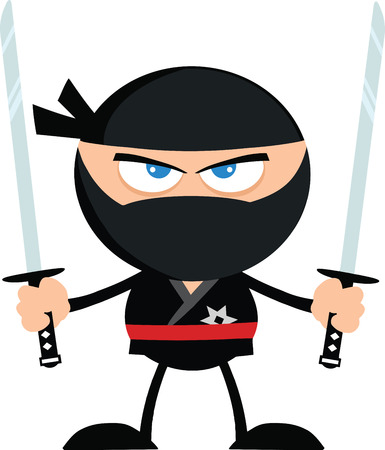 Angry Ninja Warrior With Two Katana Flat Design  Illustration Isolated on white