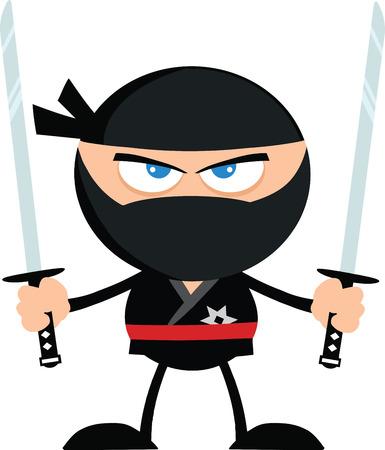 Angry Ninja Warrior With Two Katana Flat Design  Illustration Isolated on white