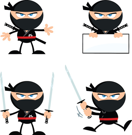 Wütend Ninja Warrior Cartoon Characters 1 Wohnung Design Collection Set Illustration