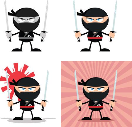 ninja weapons: Angry Ninja Warrior  Cartoon Characters 3 Flat Design  Collection Set Illustration