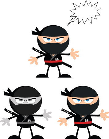 Angry Ninja Warrior  Cartoon Characters 2 Flat Design  Collection Set Vector