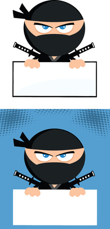 sport cartoon: Angry Ninja Warrior  Cartoon Character Over Blank Sign Flat Design  Collection Set Illustration