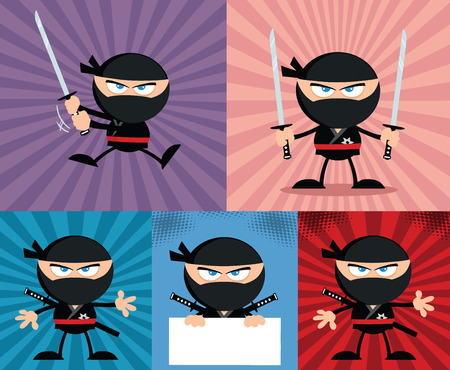 Angry Ninja Warrior  Cartoon Characters 4 Flat Design  Collection Set Vector