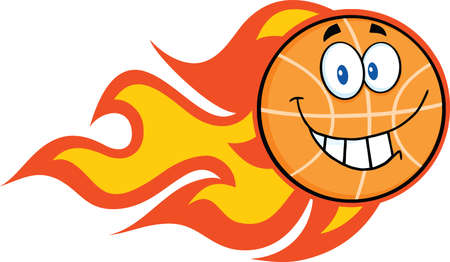 Smiling Flaming Basketball Cartoon Character  Illustration Isolated on white Vector