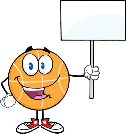 international basketball: Happy Basketball Cartoon Character Holding A Blank Sign  Illustration Isolated on white