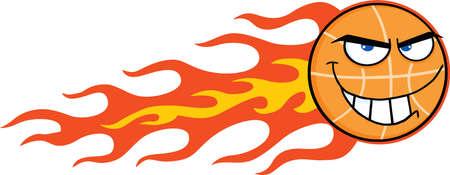 flaming: Flaming Basketball Cartoon Character Illustration