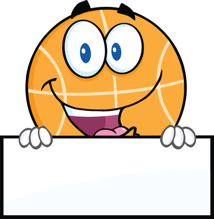 Funny Basketball Cartoon Character Over Blank Sign  Illustration Isolated on white