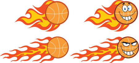 Flaming Basketball Cartoon Characters  Collection Set Vector
