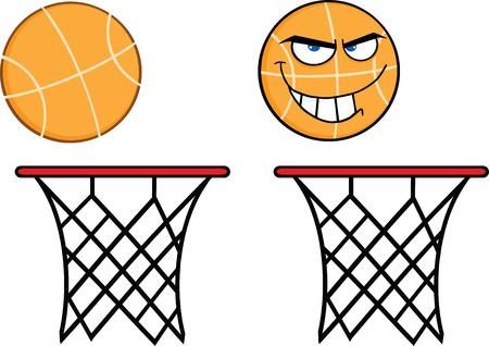 Basketball On Rim  Collection Set Vector