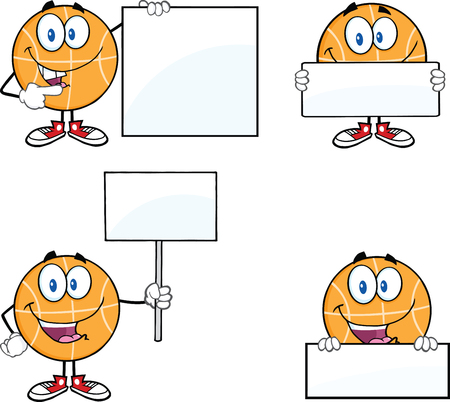 Basketball Cartoon Mascot Characters 3  Collection Set Vector