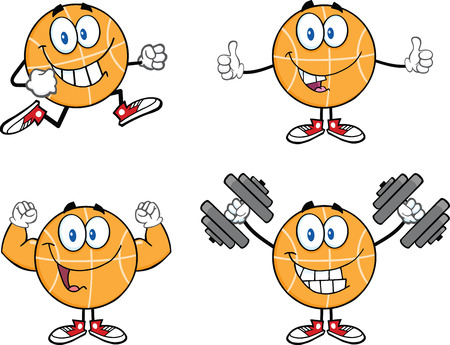 Basketball Cartoon Mascot Characters 1  Collection Set Illustration