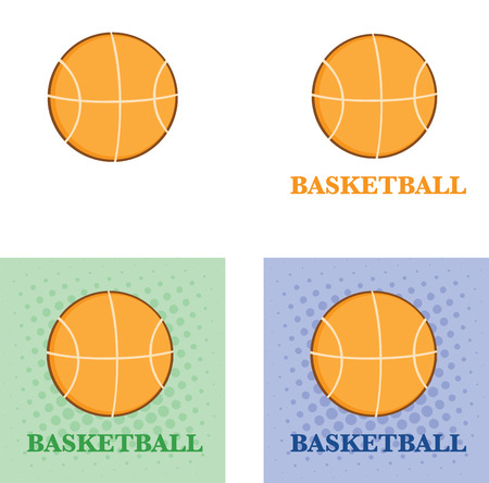 basketballs: Abstract Basketballs With Text Flat Design  Collection Set