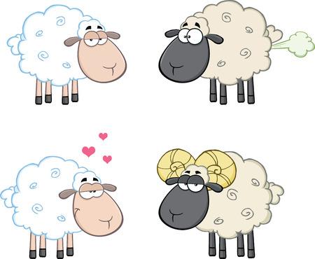 Funny Sheep Cartoon Mascot Characters 4  Collection Set