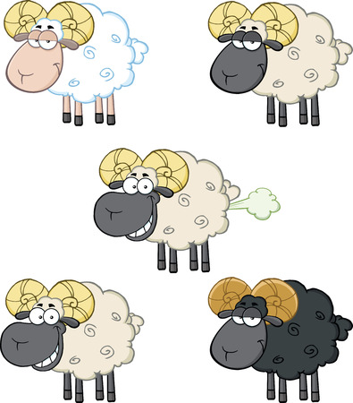 Funny Sheep Cartoon Mascot Characters 2  Collection Set Vector