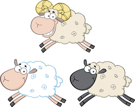Funny Sheep Cartoon Mascot Characters 3  Collection Set Vector
