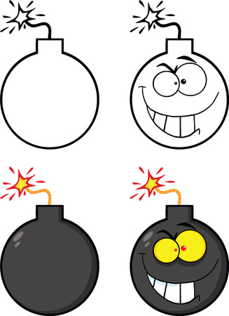 Crazy Evil Bomb Cartoon Character  Collection Set Vector