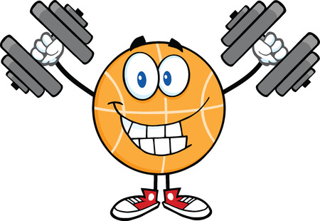 international basketball: Smiling Basketball Cartoon Character Training With Dumbbells  Illustration Isolated on white
