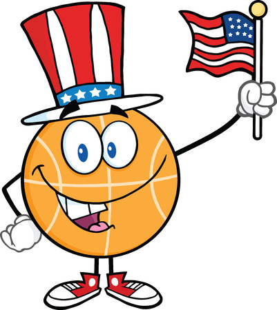 international basketball: Happy Basketball Cartoon Character With American Patriotic Hat And USA Flag  Illustration Isolated on white