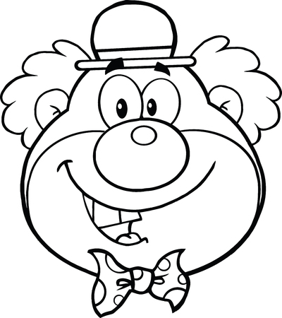 Black and White Funny Clown Head Cartoon Character  Illustration Isolated on white Vector