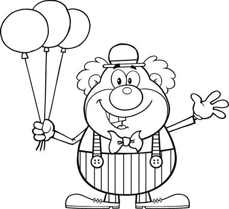 Carácter blanco y negro divertido del payaso de la historieta con globos y agitando la ilustración aislado en blanco