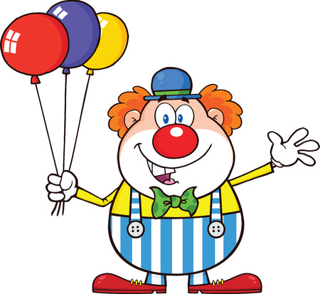 clown shoes: Funny Clown Cartoon Character With Balloons And Waving  Illustration Isolated on white Illustration